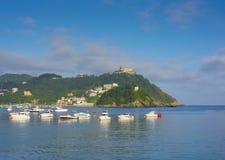 Boats in the bay of La Concha in the city of San Sebastian Royalty Free Stock Image