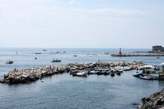 Boats in a bay of Naples Stock Images