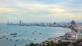 Boats in bay of Pattaya city Royalty Free Stock Image