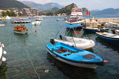 Boats at the bay of Petrovac Montenegro Royalty Free Stock Photo