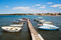 Boats in a bay of Porec, Croatia Stock Photography