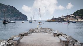 Boats in bay of Port de Soller on the island of Majorca Royalty Free Stock Photography