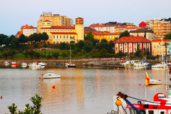 : Boats at Bay of Santander in  morning.  Cantabria Royalty Free Stock Photography
