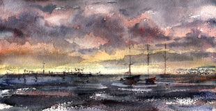 Boats in the bay, the sky and the sea. Watercolor painting Royalty Free Stock Photography