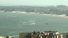 Boats in the bay of Sunny Beach in Bulgaria stock footage