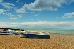 Boats on the beach. Image was taken on July 2012 in Sussex, England Royalty Free Stock Photos