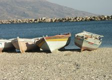 Boats_on_the_beach Royalty-vrije Stock Afbeeldingen