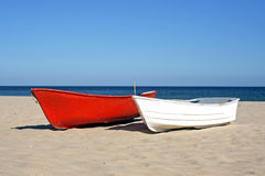 Boats on the beach. Boats on an empty beach Stock Image