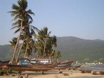 Boats on the beach royalty free stock photo