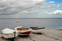 Boats on the beach. Boats on the french beach of Etretat Royalty Free Stock Image