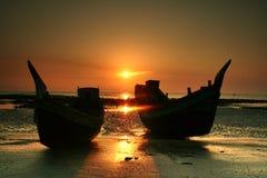 Boats on the beach royalty free stock photos