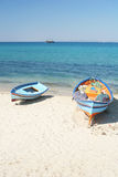 Boats on the beach. Hammamet Royalty Free Stock Photo
