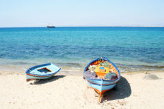 Boats on the beach. Hammamet Royalty Free Stock Image