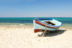 Boats on the beach. Hammamet stock image