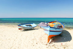 Boats on the beach Stock Images