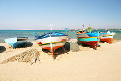 Boats on the beach. Hammamet Stock Images