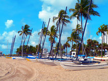 Boats on a Beach. Boats lined up on Fort Lauderdale beach Royalty Free Stock Photography