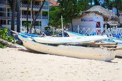 Boats on the beach in a beautiful sunny day in Punta Cana. Dominican Republic Stock Image