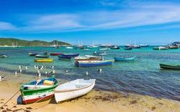 Boats on the beach in Buzios, Rio de Janeiro Royalty Free Stock Photography