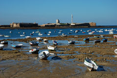 Boats on the beach in Cadiz Stock Photography