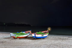 Boats on the beach of Calahonda, Nerja, Malaga Stock Photos