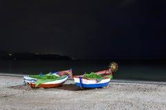 Boats on the beach of Calahonda, Nerja, Malaga. Spain Stock Photos