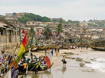 Boats on beach at Cape Coast. Beach and boats by the sea at Cape Coast near Accra in Ghana stock photos