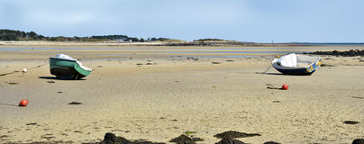Boats on beach of Carnac in France Royalty Free Stock Images