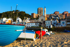 Boats at beach of catalan town. Montgat Stock Images