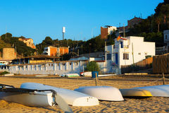 Boats at beach of catalan town. Montgat Stock Image
