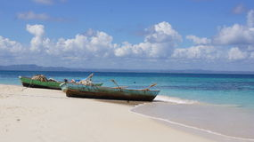 Boats on Beach Cayo Levantado, Dominican Republic Stock Image