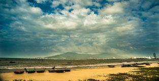 Boats on the beach of Da Nang city, Vietnam Royalty Free Stock Images