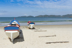 Boats in the beach. Fishing time Stock Photos