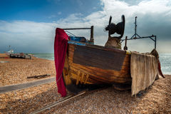 Boats on the Beach at Hastings Royalty Free Stock Images
