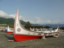 Boats on beach at Ianyu. Colorful boats on a beach in Ianyu, Taiwan Royalty Free Stock Image