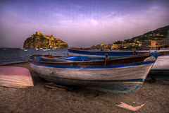 Boats in beach  Ischia Ponte Italy. Royalty Free Stock Image