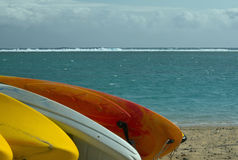 Boats on the beach. La Reunion Stock Photo