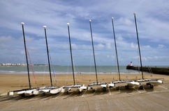Boats on beach Les Sables d'Olonne in France Royalty Free Stock Images