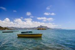 Boats on the beach of Mauritius island Stock Photo