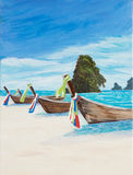 Boats on a Beach. Painting of longtail boats on a beach in Thailand Stock Images