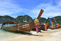 Boats on the Beach, Phuket. Long Tail Boat on the Beach of Ko (Island) Phi Phi, Phuket, Thailand Royalty Free Stock Photos