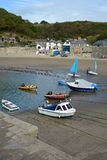Boats on beach at Polkerris, Cornwall, England Royalty Free Stock Images