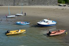 Boats on beach at Polkerris, Cornwall, England Royalty Free Stock Photo