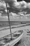 Boats on beach, Progreso, Yucatan, Mexico in black and white Royalty Free Stock Photo