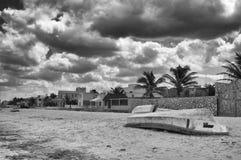 Boats on beach, Progreso, Yucatan, Mexico Royalty Free Stock Images