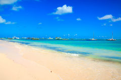 Boats on the beach in Punta Cana. Dominican Republic royalty free stock photo
