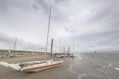Boats on the beach during Round Texel Stock Photo