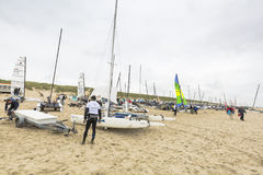 Boats on the beach during Round Texel Stock Photos