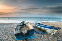 Selsey Beach. Boats on the beach at Selsey on the West Sussex coastline Stock Images