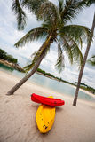 Boats on beach of Sentosa Island in Singapore. Royalty Free Stock Photography